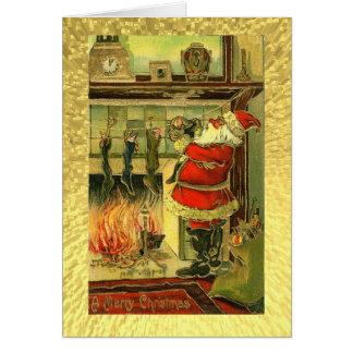 Vintage Weihnachtskarte - Sankt, Strümpfe Grußkarte