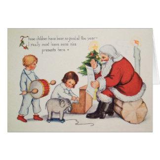 Vintage Weihnachtskarte w Sankt, fertigen es Karte