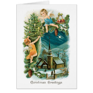 Vintage Weihnachtskarte - Weihnachtsgrüße Mitteilungskarte