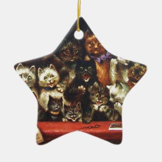 Vintage Weihnachtskatzen-Familie - am Spiel Keramik Stern-Ornament