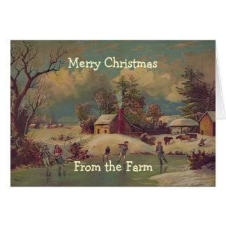 Vintage Weihnachtsland-Bauernhof-Szenen-Karte Karte