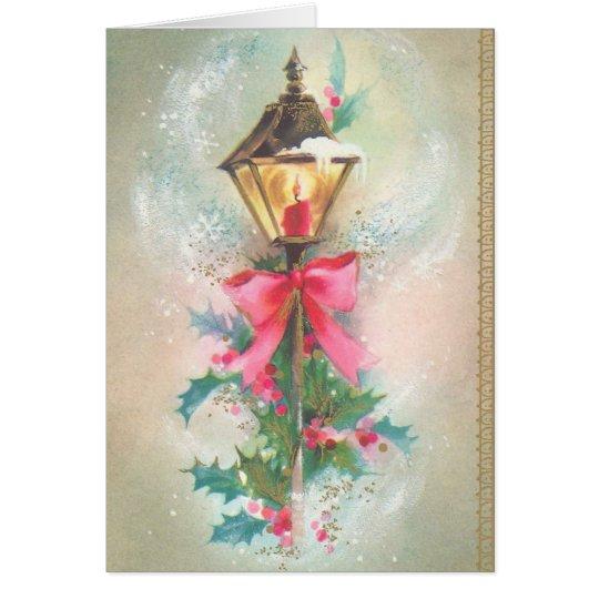 Vintage Weihnachtslaternenpfahl-Gruß-Karte Karte