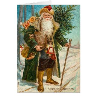 Vintage Weihnachtsmann-Karte Grußkarte