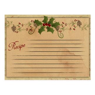 Vintage Weihnachtsrezept-Karte Postkarte
