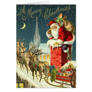 Vintage Weihnachtssankt-Karte Grußkarte