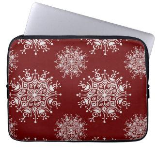 Vintage Weihnachtsschneeflocke-rotes Laptopschutzhülle