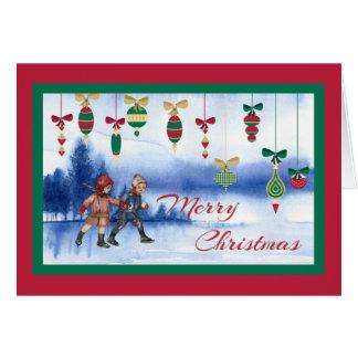 Vintage WeihnachtsSkaten-Kinder und Verzierungen Karte