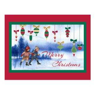 Vintage WeihnachtsSkaten-Kinder und Verzierungen Postkarte