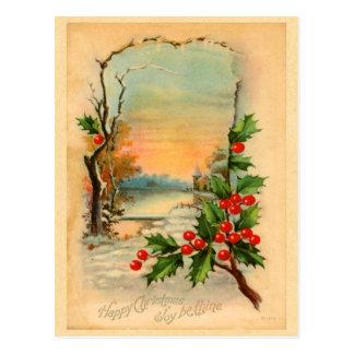 Vintage Weihnachtsstechpalmen-Postkarte Postkarte