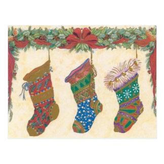 Vintage WeihnachtsStrümpfe Postkarte