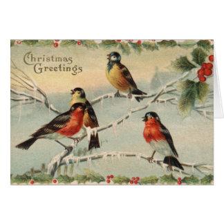 Vintage Weihnachtsvögel Karte