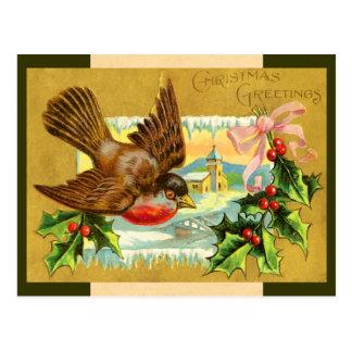 Vintage Weihnachtsvogel-Postkarte Postkarte