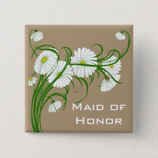 Vintage weiße Gerber Gänseblümchen-Blumen, die Set Quadratischer Button 5,1 Cm