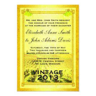 Vintage weißer Wein-Weinberg-Hochzeits-Einladung 12,7 X 17,8 Cm Einladungskarte