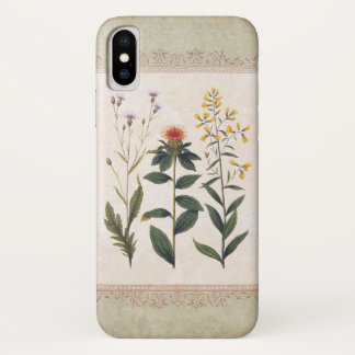 Vintage Wildblumen-Antiken-deutsches Blumen iPhone X Hülle