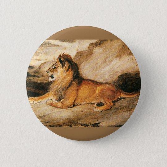 Vintage wilde Tiere, afrikanischer Löwe auf der Runder Button 5,1 Cm