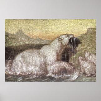 Vintage wilde Tiere, polare Bären durch Louis Poster