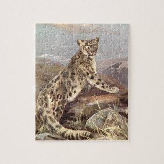 Vintage wilde Tiere, Schnee-Leopard durch CER