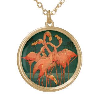 Vintage wildes Tier-Vögel, tropische rosa Vergoldete Kette