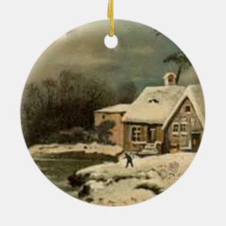 Vintage Winter-Szene Rundes Keramik Ornament
