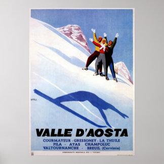 Vintage Wintersport italienische Alpenreise Plakate