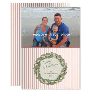 Vintage Wreathfamilien-Foto-Weihnachtskarte 12,7 X 17,8 Cm Einladungskarte