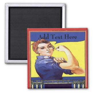Vintage WW2 Dame Worker, addieren Text Quadratischer Magnet