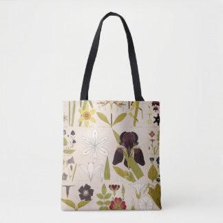 Vintage Zeichnungen der Blumen Tasche