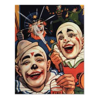 Vintage Zirkus-Clowns, albernes lustiges Personalisierte Einladungskarten