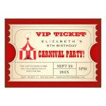 Vintage Zirkus-Karnevals-Geburtstags-Party-Karte Personalisierte Ankündigungskarte
