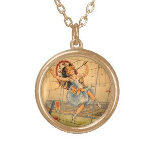Vintage Zirkus-Mädchen-Halskette Vergoldete Kette