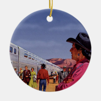 Vintage Zug-Station mit gebürtigem amerikanischem Rundes Keramik Ornament