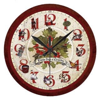 Vintage zwölf Tage von Weihnachten Große Wanduhr