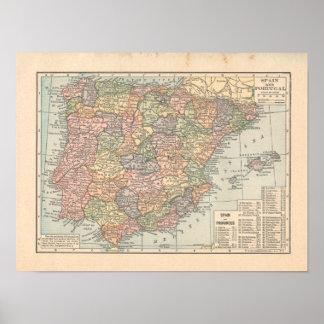Vintager 1923 Karten-Druck Spaniens u. Portugals Poster