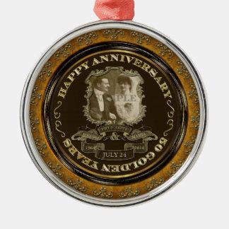Vintager 50. Jahrestag ID195 Silbernes Ornament