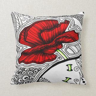 Vintager abstrakter Mohnblumen-Druck Kissen