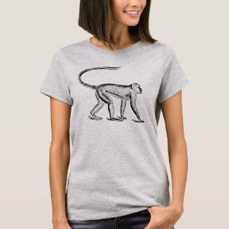 Vintager Affe Woodblock Handwerker-Art-T - Shirt