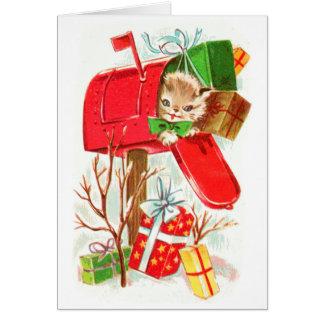 Vintager Alt-School-Retro Katzen-Weihnachtskarte Karte
