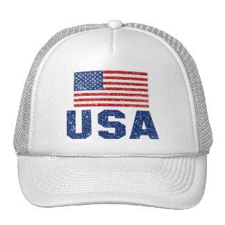 Vintager amerikanische Flagge USA-Fernlastfahrer-H Retrokappe