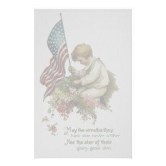 Vintager amerikanische Flaggen-kleiner Briefpapier