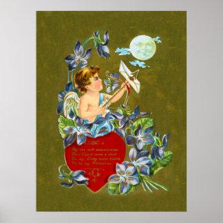 Vintager Amor u. MoonbeamValentine Poster