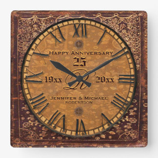Vintager antiker Hochzeits-Jahrestag Quadratische Wanduhr