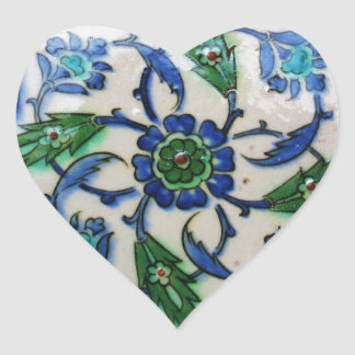 Vintager antiker Ottoman-Fliesen-Entwurf Herz-Aufkleber