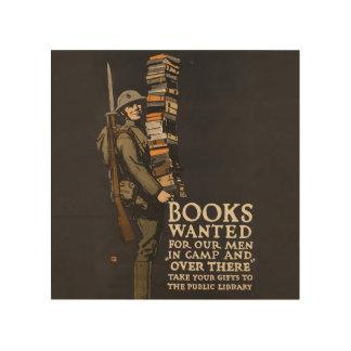 Vintager Armee-Plakat-Buch-Soldat-hölzerne Holzleinwand