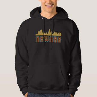 Vintager Art-Newark New-Jersey Skyline Hoodie