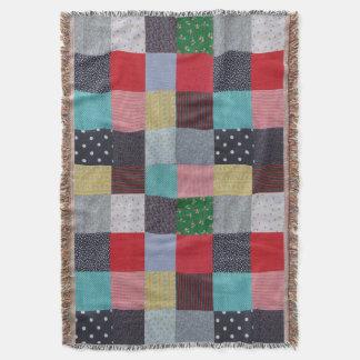 Vintager Artpatchwork-Gewebeentwurf bunt Decke