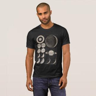Vintager Astronomiemond teilt Kalenderkarte in T-Shirt