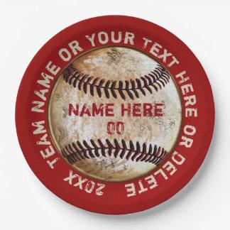 Vintager Baseball-Papier-Teller personalisiert Pappteller