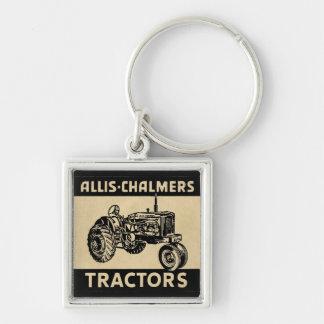 Vintager Bauernhof-Traktor Silberfarbener Quadratischer Schlüsselanhänger