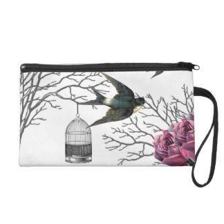 Vintager Birdcage-Rosen-SchwalbeWristlet Wristlet Handtasche